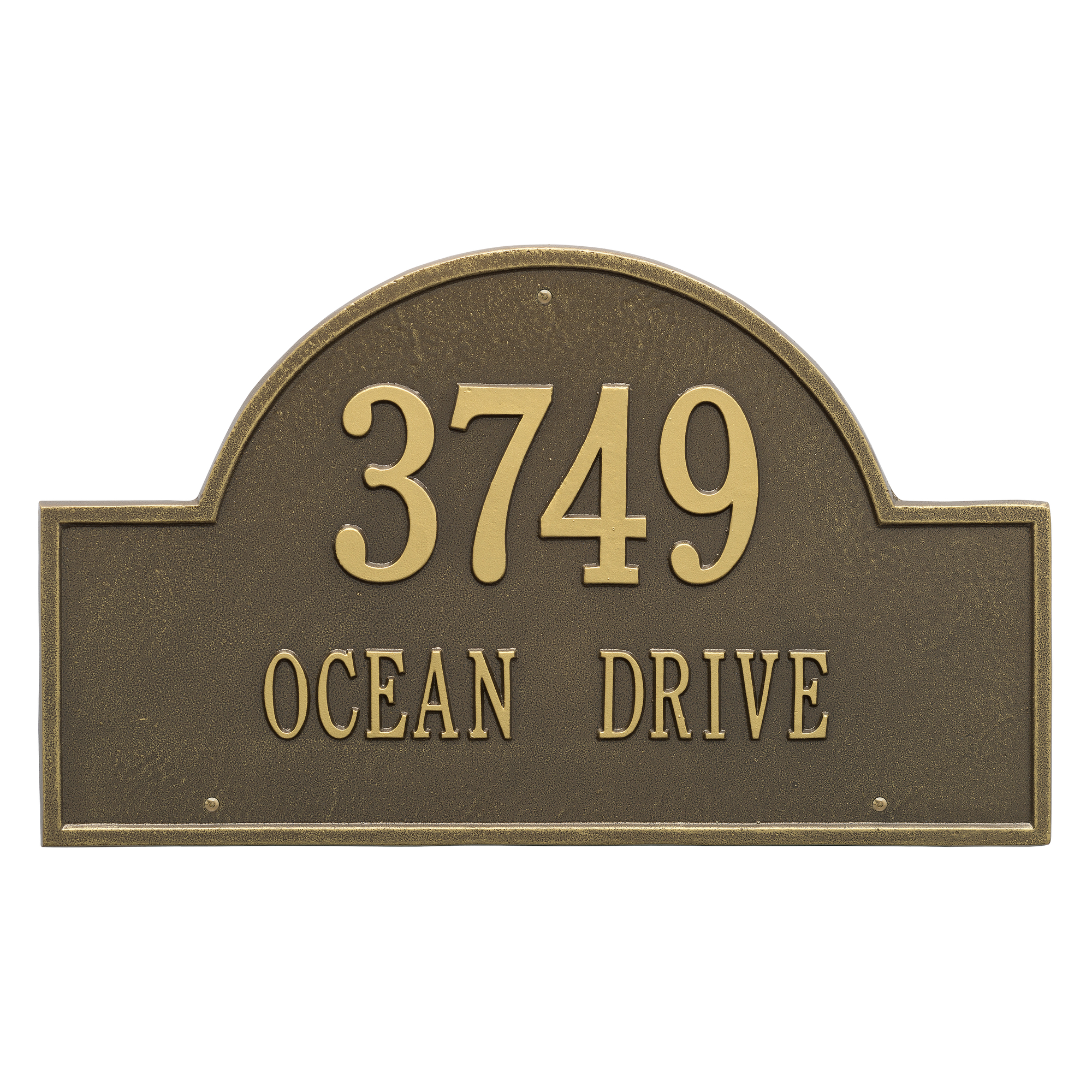 Personalized Whitehall Products Estate 2-Line Providence Arch Wall Marker in Antique Brass