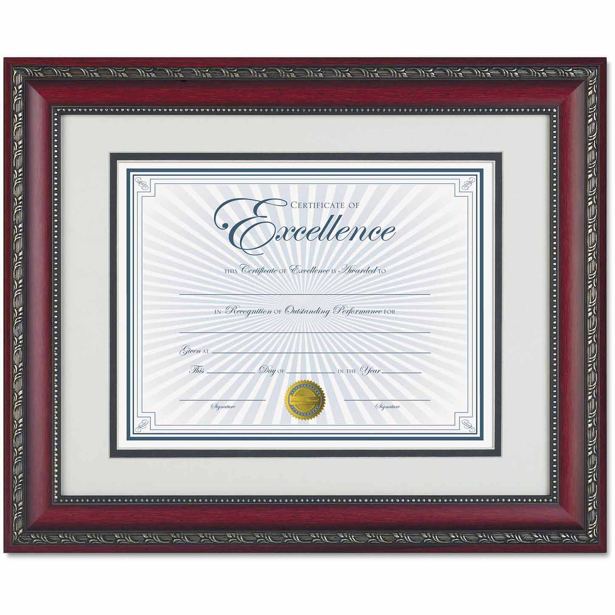 "DAX World Class Document Frame with Certificate, Rosewood, 11"" x 14"""