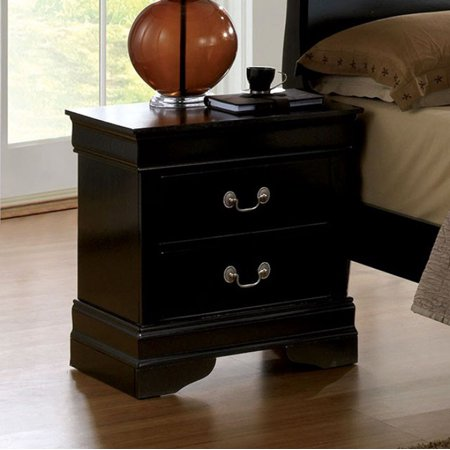 Benzara Louis Philippe III Contemporary Style Night Stand, Black