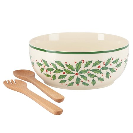 Lenox Holiday Gems - Lenox Holiday Salad Bowl with Wooden Servers