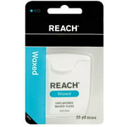 REACH Dental Floss, Waxed, Unflavored 55 yds (Pack of 6)