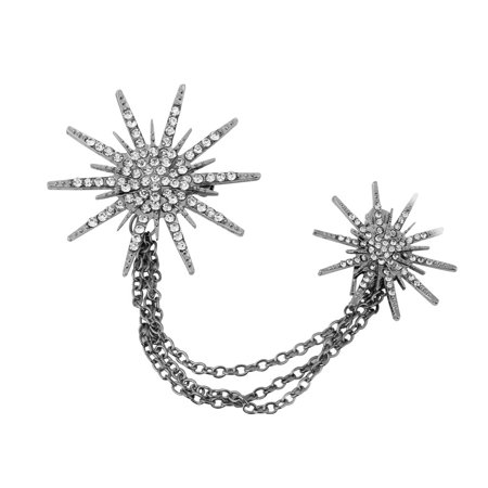 Fashion Crystal Star Sparking Chain Brooches Corsage Lady Dress Decoration Scarf Collar Pins Wedding Accessories Gift