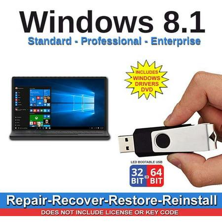 Windows 8.1 All Versions 32/64 bit Standard Professional Enterprise Repair Install Restore Recover USB Drive & 2019 Drivers (Windows 7 Professional Usb)