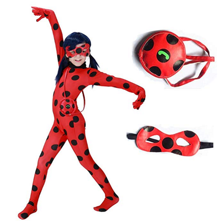 Ladybug Costume for Girls Halloween Miraculous Ladybug Child Costume Halloween Costumes for Gilrs Kids,S