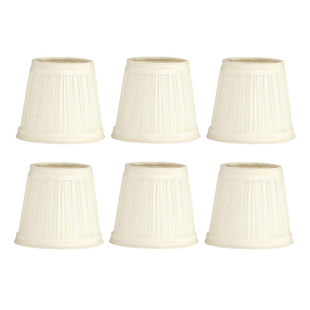 "6 Fabric Lampshade Eggshell 4 1 2"" Mini Drum Clip On 6 Pcs 