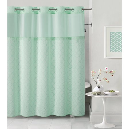 Hookless Aqua Blue Mosaic Polyester Shower Curtain