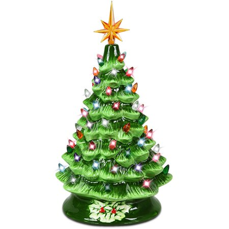 Gymax 15 Inch Artificial Christmas Tree Tabletop Ceramic Tree Green/Sliver/Gold ()