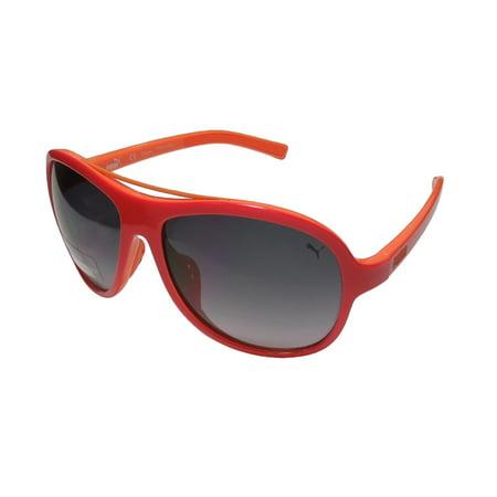New Puma 15168 Mens/Womens Aviator Full-Rim 100% UVA & UVB Red / Orange Ultimate Comfort Colorful Sleek Aviator Sunnies Shades Frame Gradient Gray Lenses 55-14-130 (100 Uva Uvb Sunglasses)