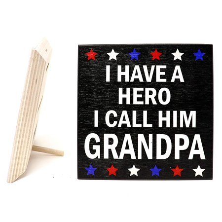 JennyGems Grandpa Gifts Series - I Have A Hero I Call Him Grandpa - Best Grandpa Quotes - Real Wood Stand up Sign (Best Gift For Him On First Date)