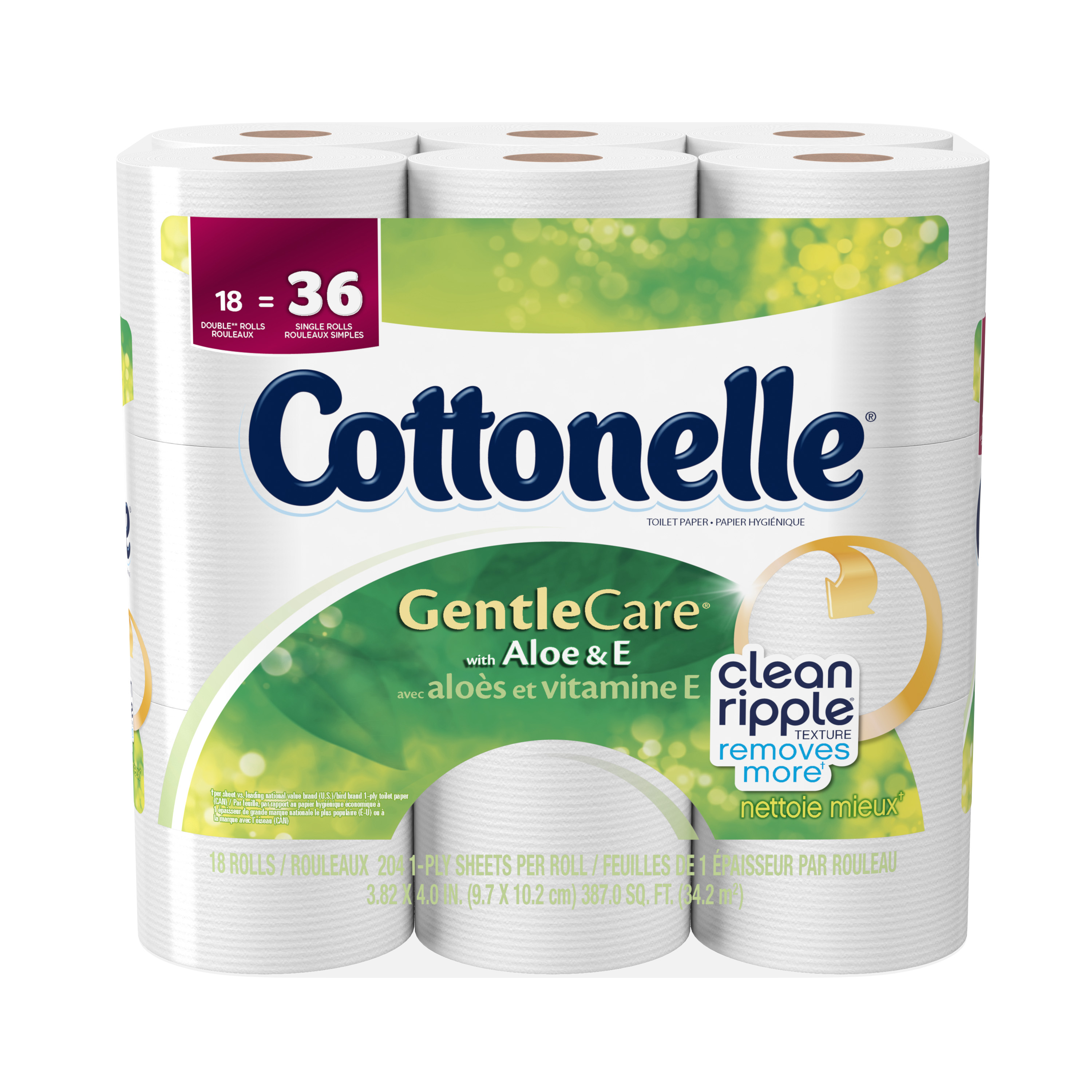 Cottonelle Toilet Paper, Gentle Care, 18 Double Rolls