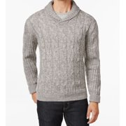 Weatherproof NEW Light Gray Mens Size 2XL Shawl Collar Cable Knit Sweater $90