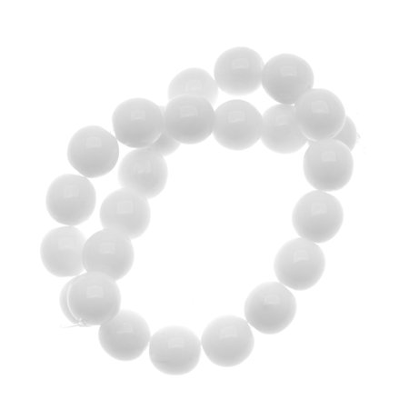 8mm Druk Glass Beads (Czech Glass Druk Round Beads 8mm Opaque White)