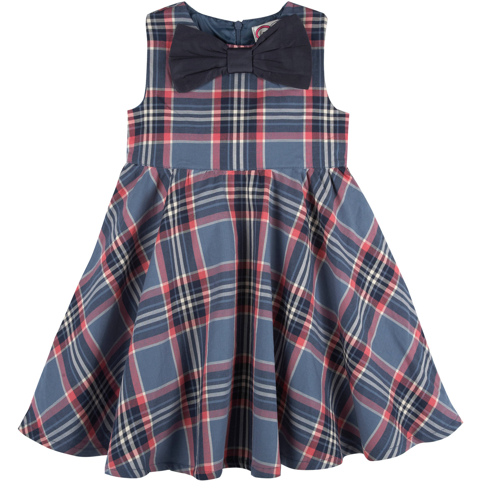 G-Cutee Baby Toddler Girl Blue & Pink Plaid Dress w/ Bow