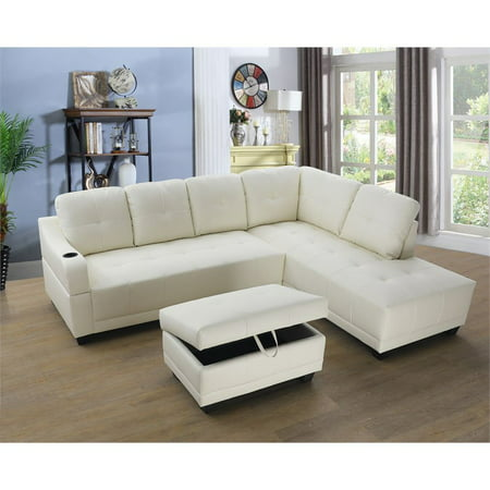 Bluebell Faux Leather Sectional Sofa with Ottoman-White