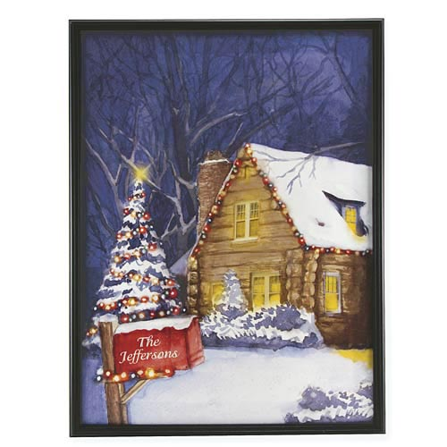 Personalized Holiday Log Cabin Canvas