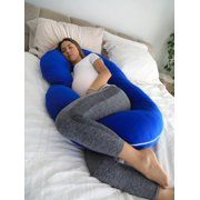 68dec256e PharMeDoc Pregnancy Pillow with BLUE Jersey Cover - C Shaped Body Pillow  for Pregnant Women Image