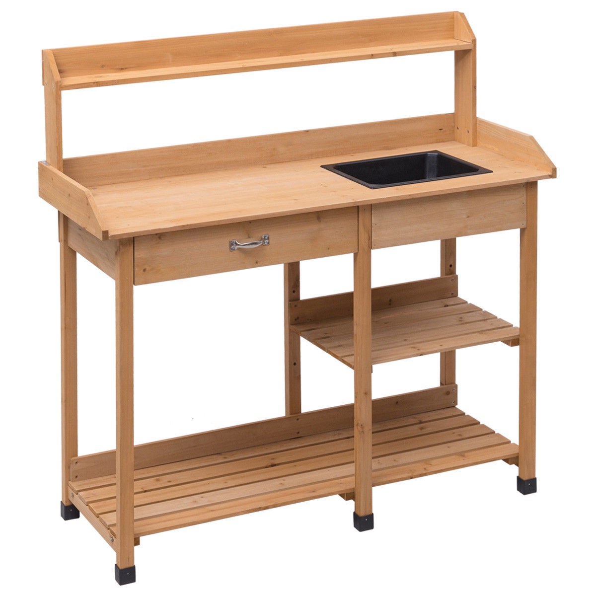 """GHP Outdoor 46""""Lx18""""Wx48""""H Durable and Sturdy Yellow Fir Wood Worktop Potting Bench"""