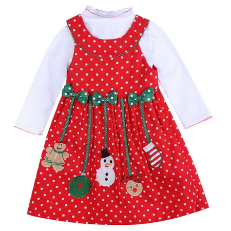 Girls Dotted Dress - 2PCS Toddlers Baby Girls Merry Christmas Dress Long Sleeve Cotton Dot Dress Tutu Dress Outfits