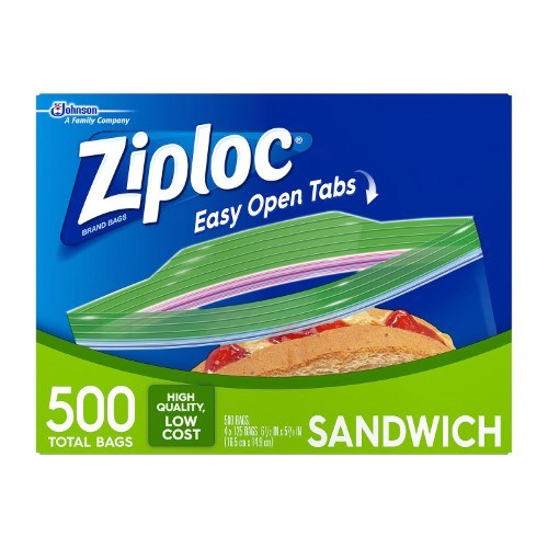 Ziploc Zipper Sandwich Bags, 500 Ct