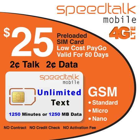 Speedtalk Mobile  25 Prepaid Sim Card Unlimited Text 60 Day Wireless Service
