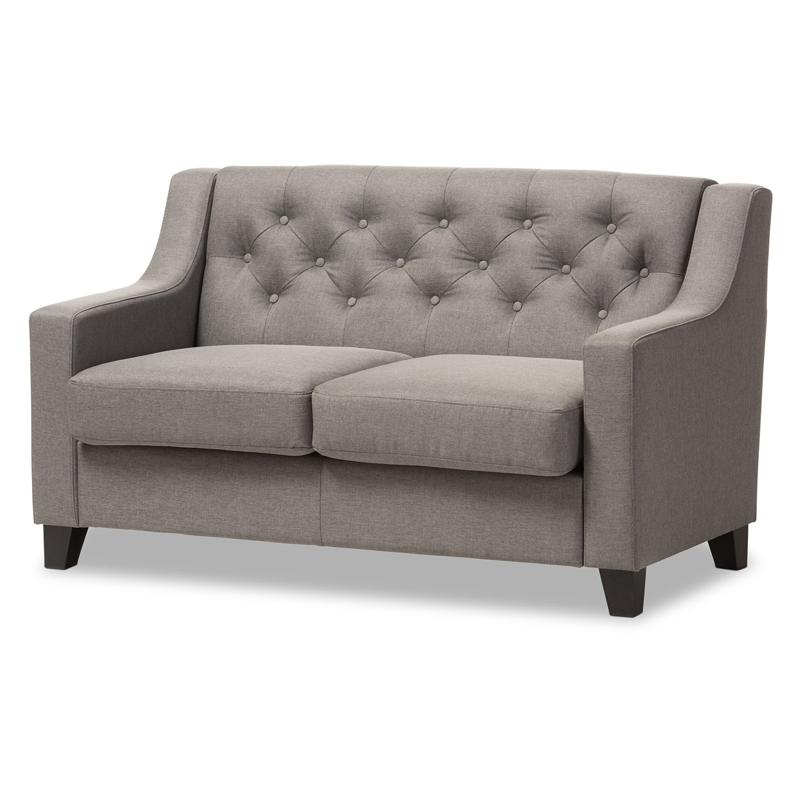 Baxton Studio Arcadia Modern and Contemporary Fabric Upholstered Button-Tufted Living Room 2-Seater Loveseat, Multiple Colors