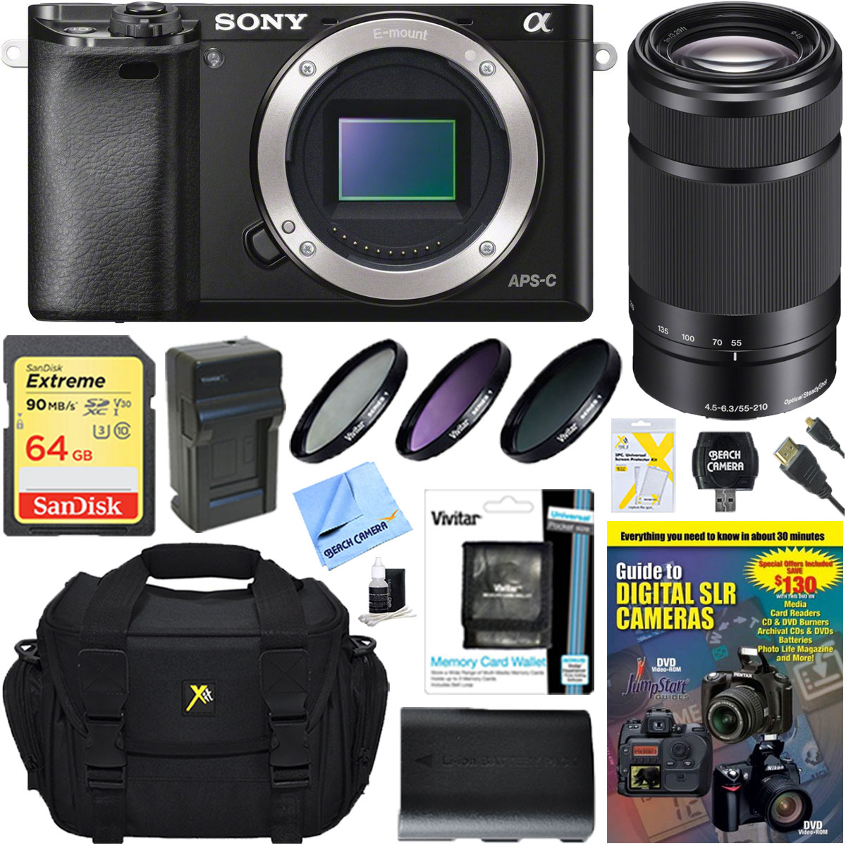 Sony Alpha a6000 24.3MP Mirrorless Digital Camera with 55-210mm Zoom Lens Accessory Bundle