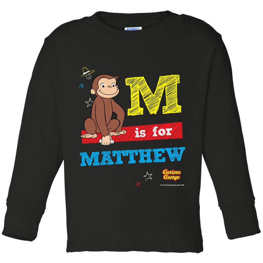 Personalized Curious George Chalkboard Youth Black Long Sleeve Tee