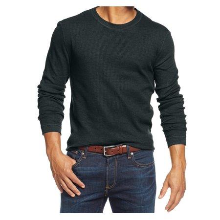 Club room new black mens size xl crewneck thermal long for Mens black thermal t shirts