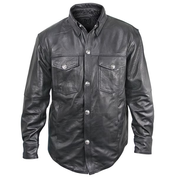 Xelement XS908B Mens Black Leather Shirt with Buffalo Buttons
