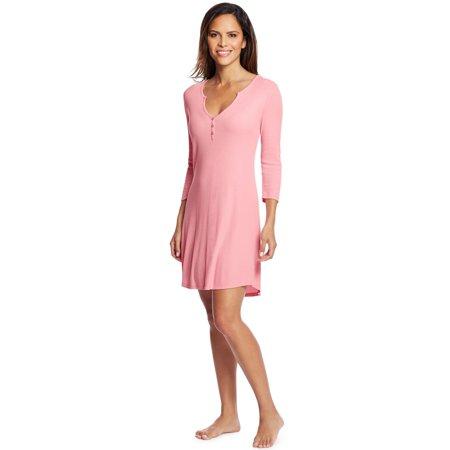 Maidenform Womens Henley Sleepshirt, M, Pink Nectar