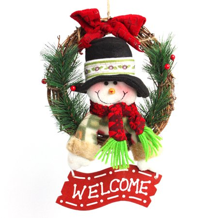 - 30cm Christmas Wreath For Front Door Hang Garland with Santa Claus Snowman Ornaments Natural Rattan Wreath Holiday Door Hanger Wall Car Decoration (Snowman Style)