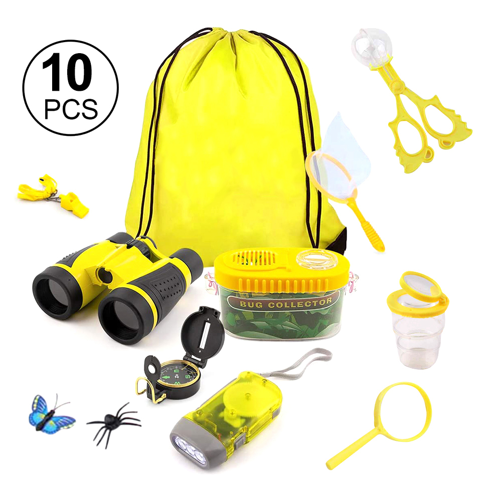 10pcs Kit Outdoor Explorer Set Funny Kids Toy Adventure Insect Viewer Flashlight