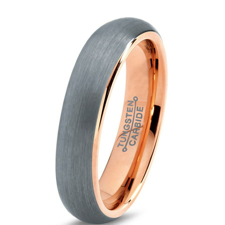 Tungsten Wedding Band Ring 5mm for Men Women Comfort Fit 18K Rose Gold Plated Plated Domed Brushed Lifetime