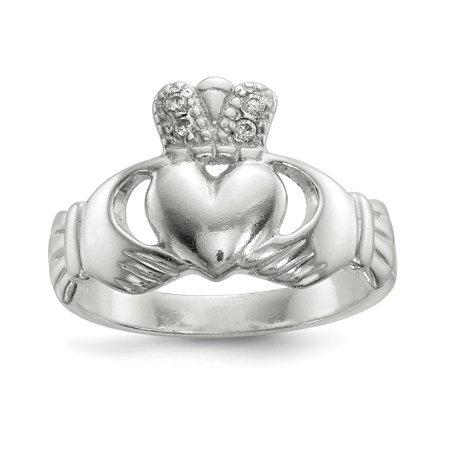 - 925 Sterling Silver Cubic Zirconia Cz Irish Claddagh Celtic Knot Band Ring Size 8.00 Gifts For Women For Her