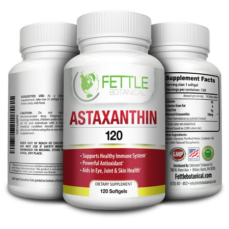 Natural Astaxanthin 120 Tabs - Astaxanthin 120 Softgels 10mg Supplement Strong Carotenoid by Fettle Botanical