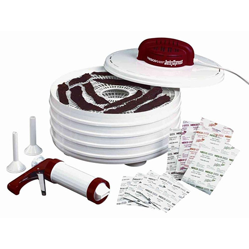 Nesco FD-28JX Food Dehydrator - 350 Watts Jerky Xpress 4 Trays/ Jerky Gun/ 4 Spices