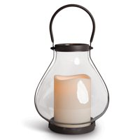"""10.25"""" Clear and Brown Glossy Finished School House LED Lantern with Handle"""