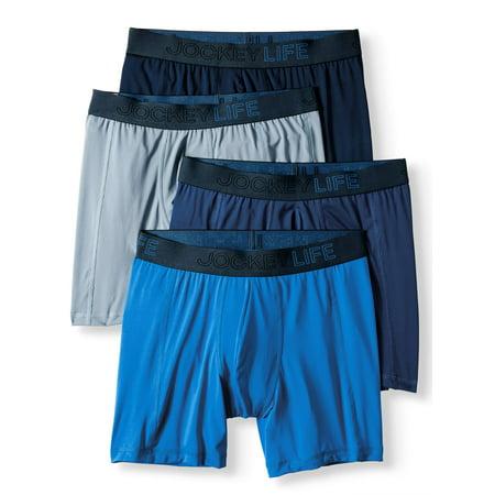 Men's Fresh Microfiber Long-Leg Boxer Brief Bonus Pack - 4 (Microfiber Spandex Boxers)