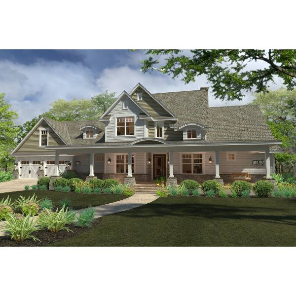 TheHouseDesigners-5521 Farm House Plan with Slab Foundation (5 Printed Sets)