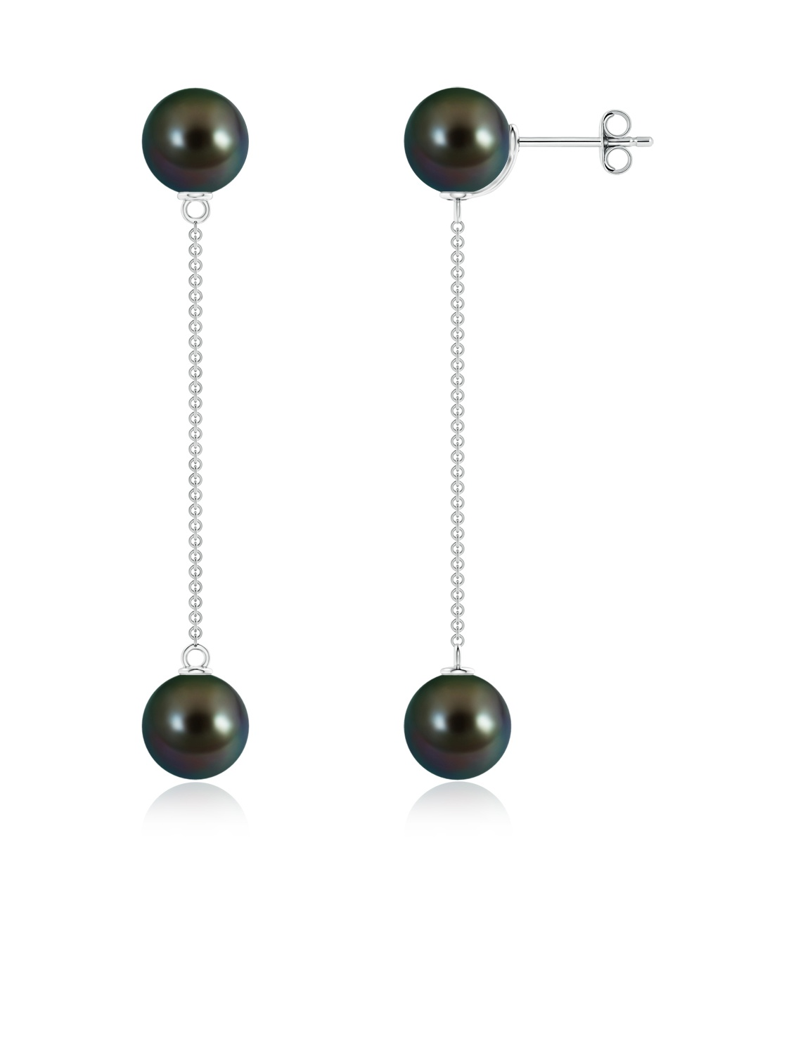 June Birthstone Earrings Tahitian Cultured Pearl Long Chain Drop Earrings in .925 Sterling Silver SE1539THPR-SL-AAAA-8 by Angara.com