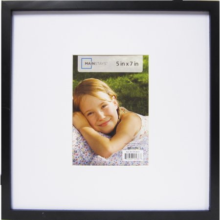Mainstays 12.25x12.25 Matted to 5x7 Linear Frame, Black