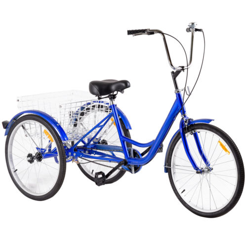 Costway 24'' Single Speed 3-wheel Bicycle Adult Tricycle Seat Height Adjustable w  Bell by Costway