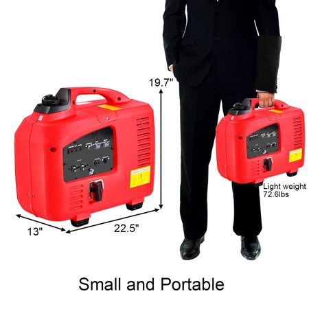 Portable 2750W Digital Inverter Generator 4 Stroke 125cc Single Cylinder Red - image 9 of 10