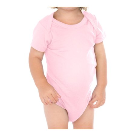 Kavio IJC0431 Infants Lap Shoulder Short Sleeve Onesie-Baby Pink-12M