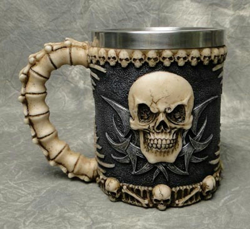 Skull Skeleton 3D Skeleton Tankard Mug Cup Coffee Beer Pirate Gothic Halloween E