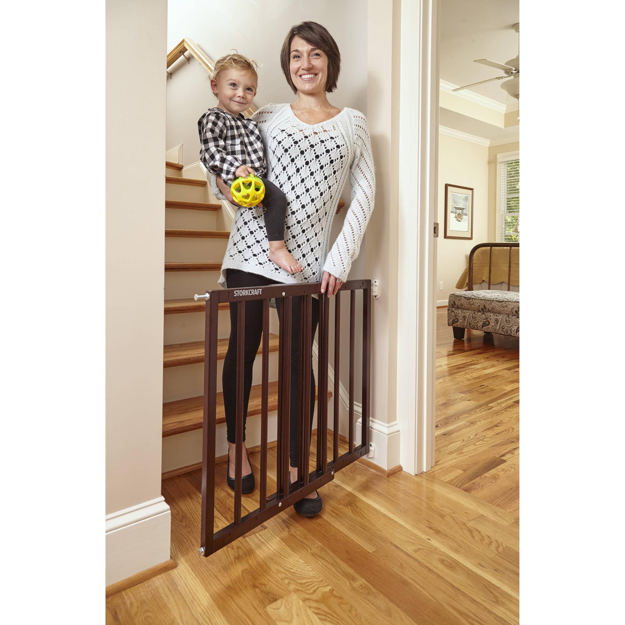 Baby Safety Gate Wood Fence Pet Walk Thru Child Door Dog