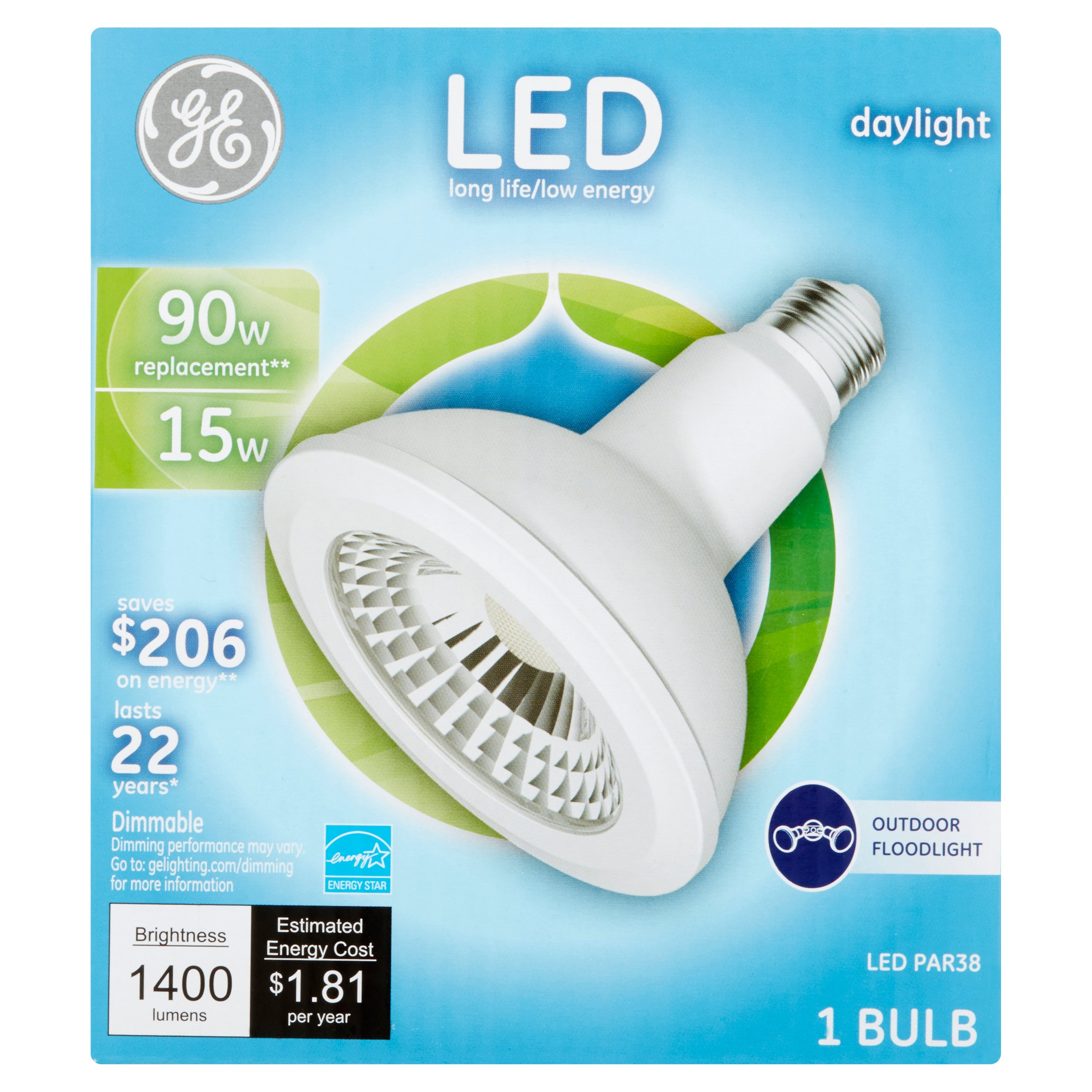 GE LED 15W 1400 Lumens Daylight PAR38 Bulb