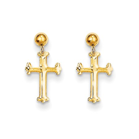 Cross Dangle Post Earrings (Children's 14k Yellow Gold 14mm Budded Cross Dangle Post)