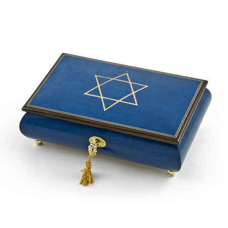 Handcrafted Royal Blue Music Jewelry Box with Star of David Inlay - As Time Goes By (Casablanca)