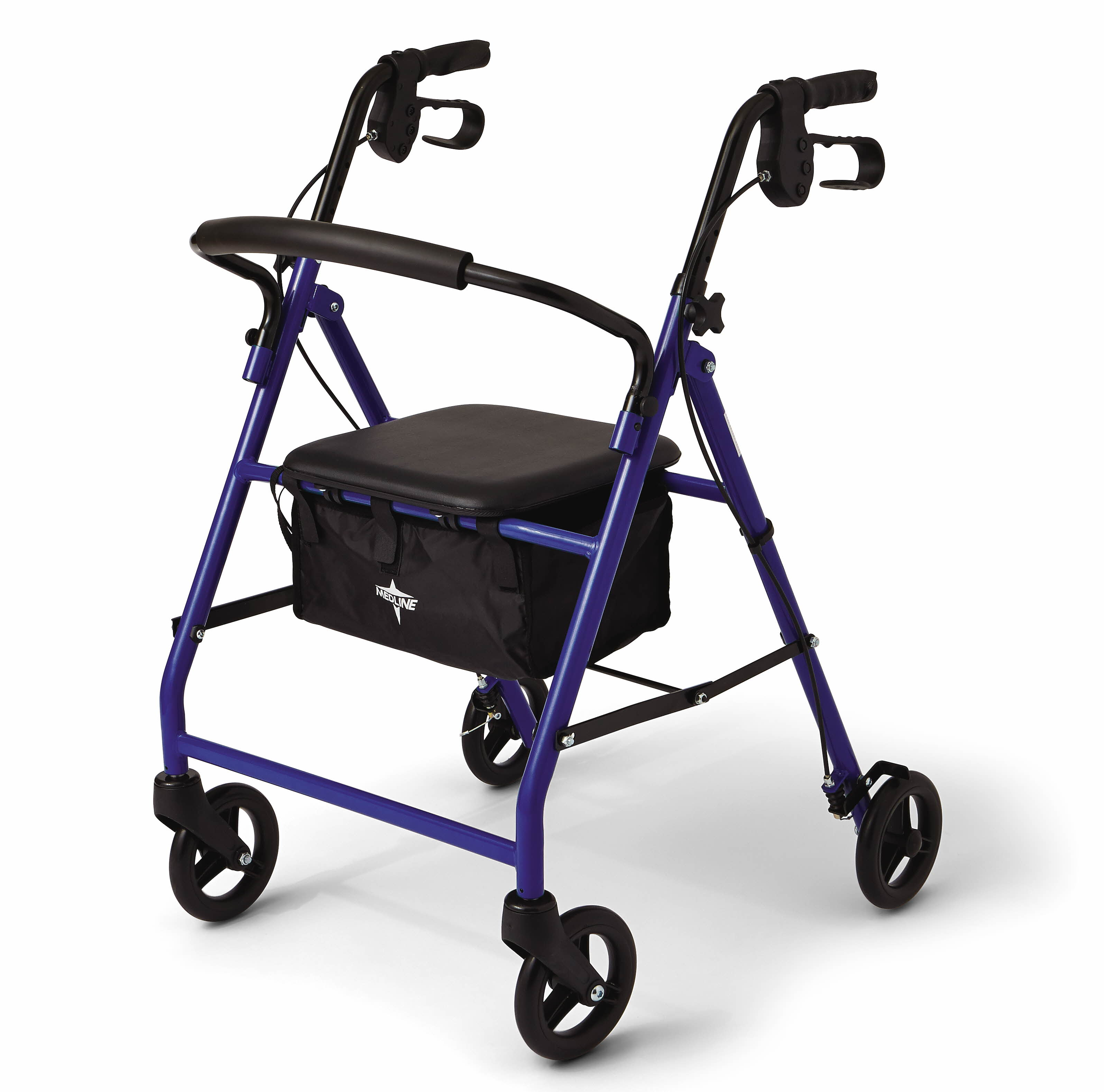 "Medline Steel Foldable Rollator Walker with 6"" Wheels, Blue"